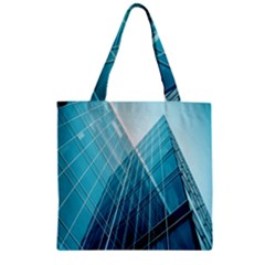 Glass Bulding Zipper Grocery Tote Bag