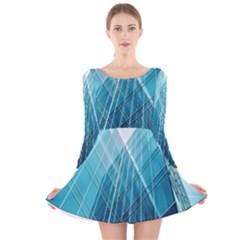 Glass Bulding Long Sleeve Velvet Skater Dress