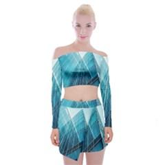Glass Bulding Off Shoulder Top With Skirt Set