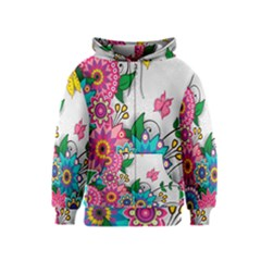 Flowers Pattern Vector Art Kids  Zipper Hoodie