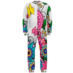 Flowers Pattern Vector Art Onepiece Jumpsuit (men)