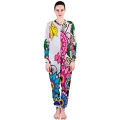 Flowers Pattern Vector Art Onepiece Jumpsuit (ladies)