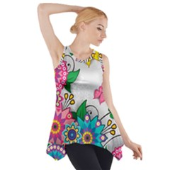 Flowers Pattern Vector Art Side Drop Tank Tunic