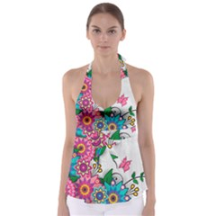Flowers Pattern Vector Art Babydoll Tankini Top