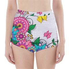 Flowers Pattern Vector Art High Waisted Bikini Bottoms