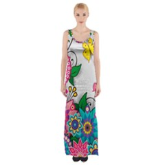 Flowers Pattern Vector Art Maxi Thigh Split Dress