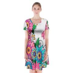 Flowers Pattern Vector Art Short Sleeve V Neck Flare Dress
