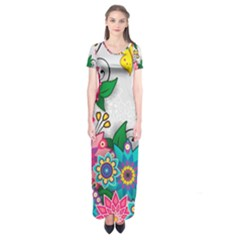 Flowers Pattern Vector Art Short Sleeve Maxi Dress