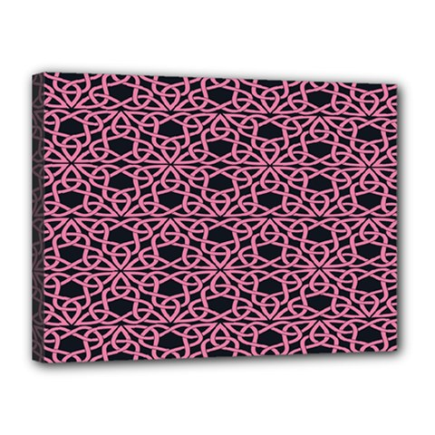 Triangle Knot Pink And Black Fabric Canvas 16  X 12
