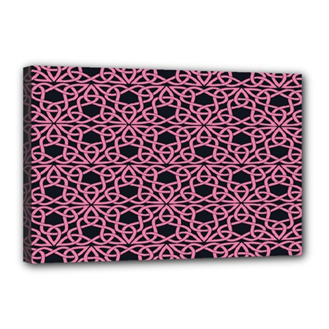 Triangle Knot Pink And Black Fabric Canvas 18  X 12
