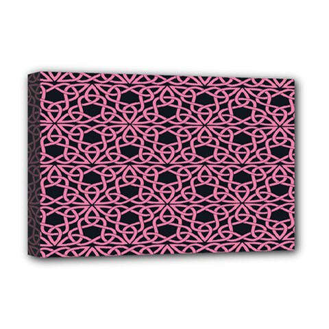 Triangle Knot Pink And Black Fabric Deluxe Canvas 18  X 12