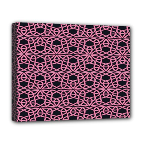 Triangle Knot Pink And Black Fabric Deluxe Canvas 20  X 16