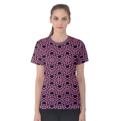 Triangle Knot Pink And Black Fabric Women s Cotton Tee