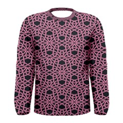 Triangle Knot Pink And Black Fabric Men s Long Sleeve Tee