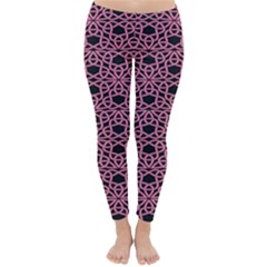 Triangle Knot Pink And Black Fabric Classic Winter Leggings