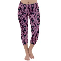 Triangle Knot Pink And Black Fabric Capri Winter Leggings