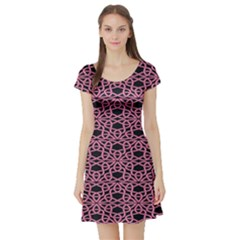 Triangle Knot Pink And Black Fabric Short Sleeve Skater Dress
