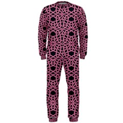Triangle Knot Pink And Black Fabric Onepiece Jumpsuit (men)