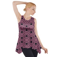 Triangle Knot Pink And Black Fabric Side Drop Tank Tunic