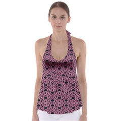 Triangle Knot Pink And Black Fabric Babydoll Tankini Top