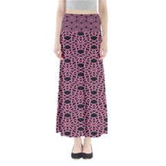 Triangle Knot Pink And Black Fabric Full Length Maxi Skirt