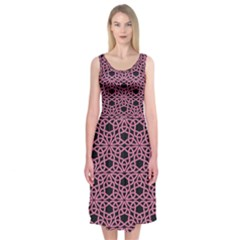 Triangle Knot Pink And Black Fabric Midi Sleeveless Dress
