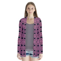 Triangle Knot Pink And Black Fabric Drape Collar Cardigan
