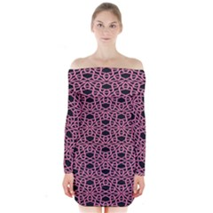 Triangle Knot Pink And Black Fabric Long Sleeve Off Shoulder Dress