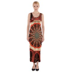 Circle Pattern Fitted Maxi Dress