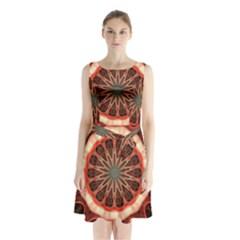 Circle Pattern Sleeveless Waist Tie Chiffon Dress