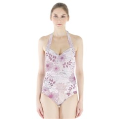 Leaves Pattern Halter Swimsuit