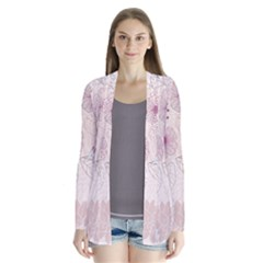 Leaves Pattern Drape Collar Cardigan