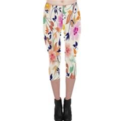 Vector Floral Art Capri Leggings