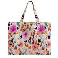 Vector Floral Art Zipper Mini Tote Bag