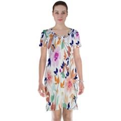 Vector Floral Art Short Sleeve Nightdress
