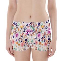 Vector Floral Art Boyleg Bikini Wrap Bottoms