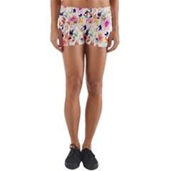 Vector Floral Art Yoga Shorts