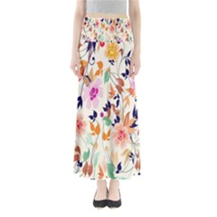 Vector Floral Art Full Length Maxi Skirt