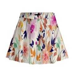 Vector Floral Art Mini Flare Skirt