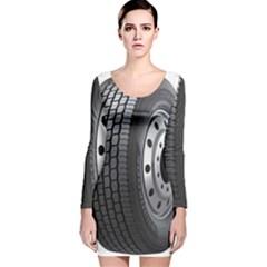 Tire Long Sleeve Velvet Bodycon Dress