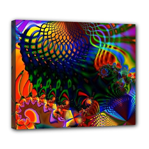 Colored Fractal Deluxe Canvas 24  X 20