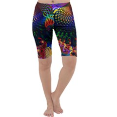 Colored Fractal Cropped Leggings