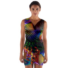 Colored Fractal Wrap Front Bodycon Dress