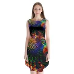 Colored Fractal Sleeveless Chiffon Dress