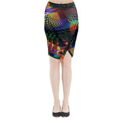 Colored Fractal Midi Wrap Pencil Skirt