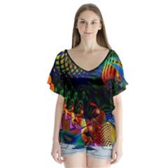 Colored Fractal Flutter Sleeve Top