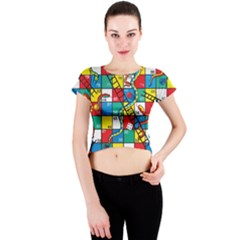 Snakes And Ladders Crew Neck Crop Top