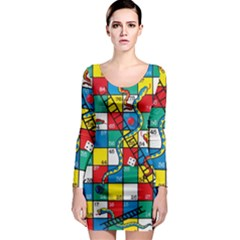 Snakes And Ladders Long Sleeve Bodycon Dress