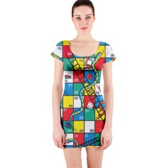 Snakes And Ladders Short Sleeve Bodycon Dress