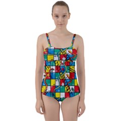 Snakes And Ladders Twist Front Tankini Set